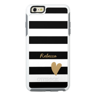 Cute Love Heart Girly Chic Black White Stripes OtterBox iPhone 6/6s Plus Case
