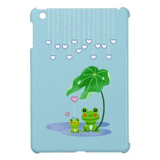 Cute Love Heart Rain & Frogs - Love Just Happens iPad Mini Cover