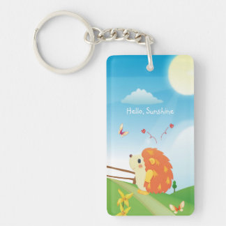 Cute Love Hedgehog with Butterfly Sunny Day Double-Sided Rectangular Acrylic Key Ring