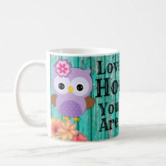 Cute Love Hoo You Are Pastel Purple Owl and Flower Coffee Mug