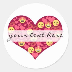 Cute Love Kiss Lips Emoji Heart Classic Round Sticker