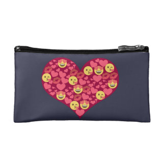 Cute Love Kiss Lips Emoji Heart Cosmetic Bag