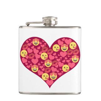 Cute Love Kiss Lips Emoji Heart Hip Flask