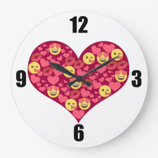 Cute Love Kiss Lips Emoji Heart Large Clock