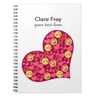 Cute Love Kiss Lips Emoji Heart Notebook