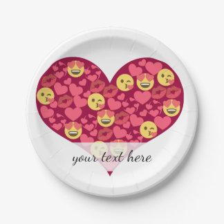 Cute Love Kiss Lips Emoji Heart Paper Plate