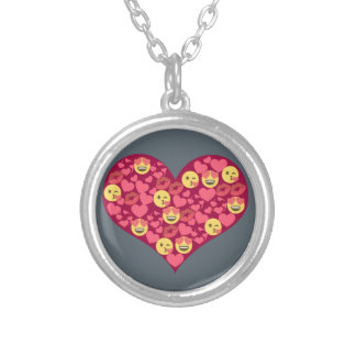 Cute Love Kiss Lips Emoji Heart Silver Plated Necklace