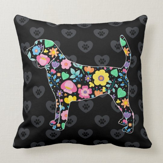 Cute Love My Beagle floral design Cushion