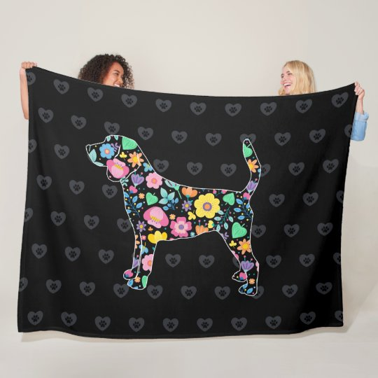 Cute Love My Beagle floral design Fleece Blanket