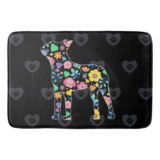 Cute Love My Boston Terrier floral design Bath Mat