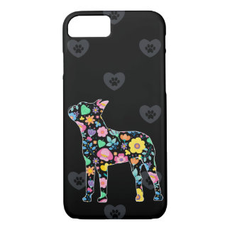 Cute Love My Boston Terrier floral design iPhone 8/7 Case