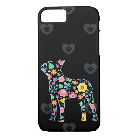 Cute Love My Boston Terrier floral design iPhone 8/7 Case