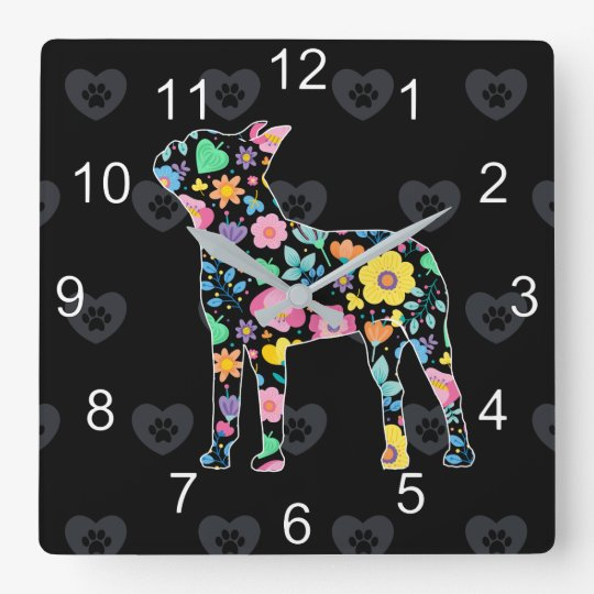 Cute Love My Boston Terrier floral design Square Wall Clock