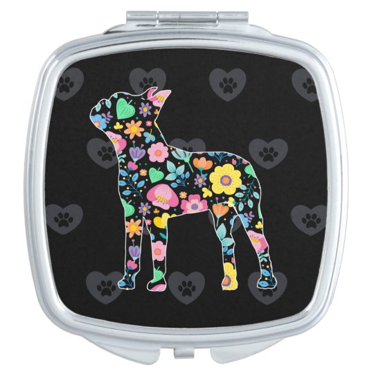 Cute Love My Boston Terrier floral design Vanity Mirror