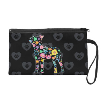 Cute Love My Boston Terrier floral design Wristlet