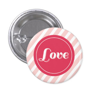 Cute Love Pink Stripes Valentine s Day Buttons