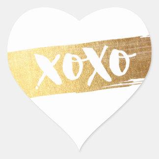 CUTE LOVE XOXO HEART modern gold brush stroke Heart Sticker