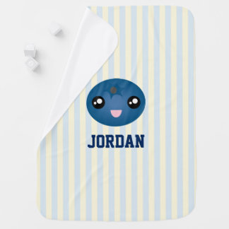 Cute Love You Berry Much Cartoon Blue Berry Baby Blanket