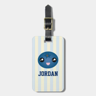 Cute Love You Berry Much Cartoon Blue Berry Luggage Tag