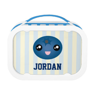 Cute Love You Berry Much Cartoon Blue Berry Lunch Box