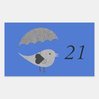 Cute Lovebird with Umbrella Rectangular Sticker