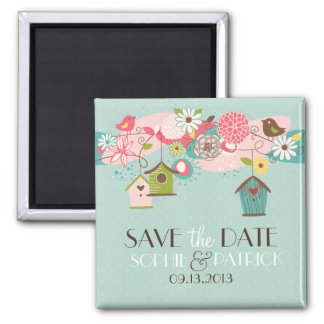 Cute Lovebirds & Birdhouses Save the Date Magnet