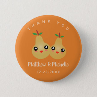 Cute Lovely Pair Whimsical Wedding Favor Thank You 6 Cm Round Badge