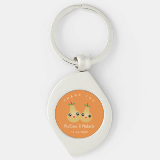 Cute Lovely Pair Whimsical Wedding Favor Thank You Key Ring