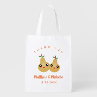 Cute Lovely Pair Whimsical Wedding Favor Thank You Reusable Grocery Bag
