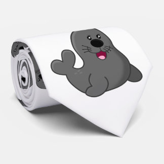 cute lovely playful seals tie