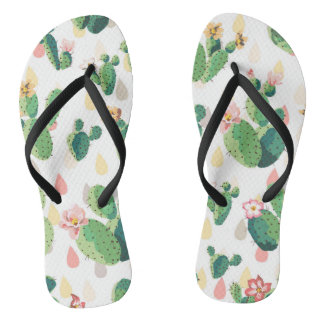 Cute Lovely Succulent Cactus Slim Straps Thongs
