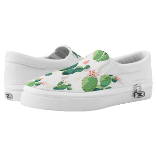 Cute Lovely Succulent Cactus Slip On Shoes Printed Shoes