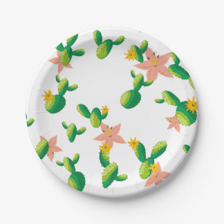 Cute Lovely Watercolor flowers succulent cactus Paper Plate