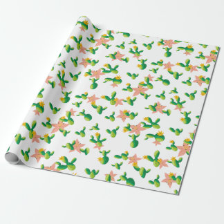 Cute Lovely Watercolor flowers succulent cactus Wrapping Paper