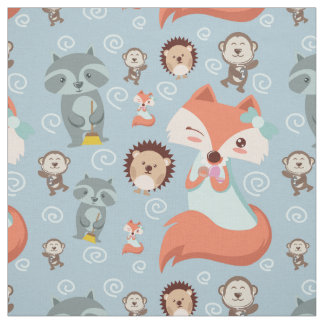 Cute Lovely woodland animals fox nursery Fabric