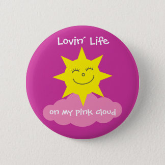 Cute Lovin' Life On My Pink Cloud Recovery 6 Cm Round Badge