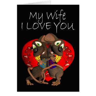 Cute loving Mice hug love Wife Card