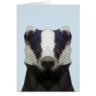 Cute low poly badger greeting card