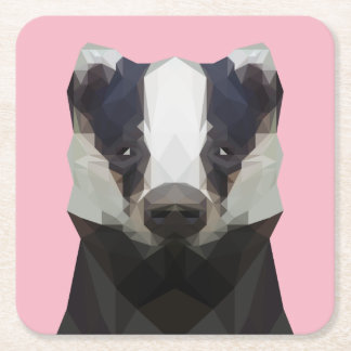 Cute low poly badger paper coaster