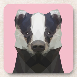 Cute low poly badger plastic coaster