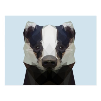 Cute low poly badger postcard
