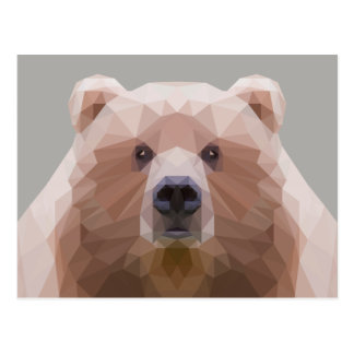 Cute low poly bear postcard