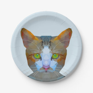Cute low poly cat paper plate