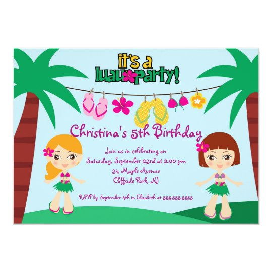 Cute Luau Party Birthday Party Invitations