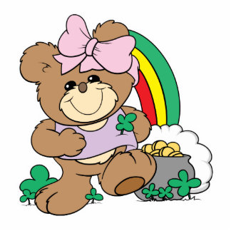 cute luck of the irish st patricks girl teddy bear photo cut outs