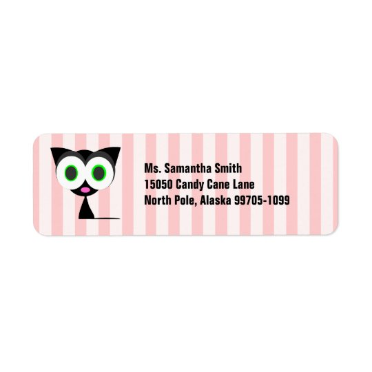 Cute Lucky Black Cat Pink Return Address Label