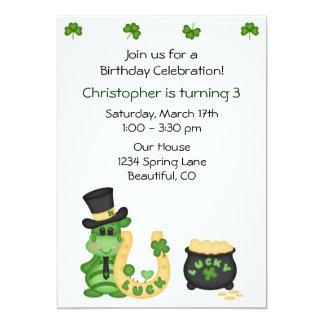 Cute Lucky Irish Dragon and Clovers Boys Birthday Card
