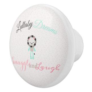 Cute Lullaby Dream Laugh Decor Neutral Lion Ceramic Knob