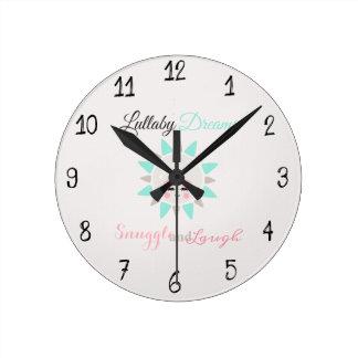 Cute Lullaby Dream Laugh Decor Neutral Sun Round Clock