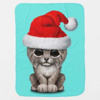 Cute Lynx Cub Wearing a Santa Hat Baby Blanket